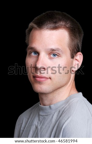 young man wearing grey t shirt