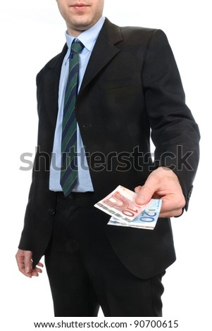 Young man who showing euros - stock photo