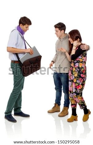 Young man who shows his new laptop to his friends - stock photo