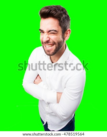 young man winking on white