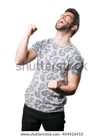 young man winner gesture - stock photo