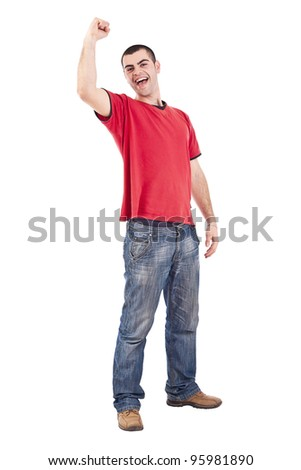 Young man winning isolated over a white background