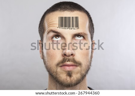 young man with a bar code on his forehead