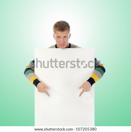 young man with a blank white card. - stock photo