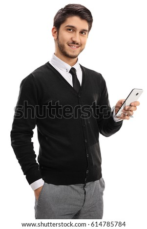 Young man with a mobile phone looking at the camera isolated on white background