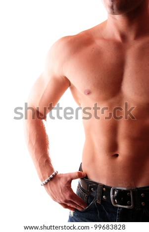 Young man with a perfect muscle body - stock photo