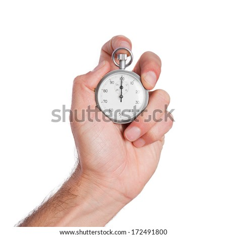 young man with a timer - stock photo