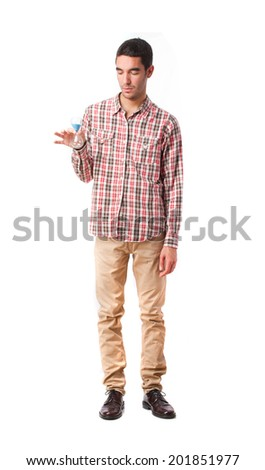 young man with a timer