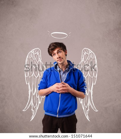 Young man with angel illustrated wings on grungy background