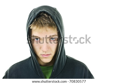 Young man with attitude wearing hoodie isolated on white background - stock photo