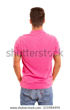 Young man with back turned to camera - stock photo