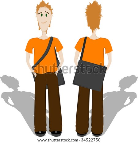 Young man with bag, front and back view - stock photo