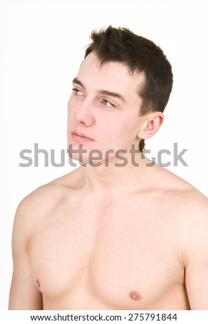 young man with bare chest