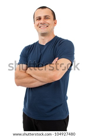 Young man with blue t-shirt, isolated on white background - stock photo