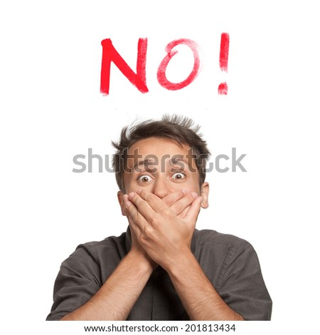 "Young man with both hands closing mouth with ""No!"" text, isolated - stock photo"