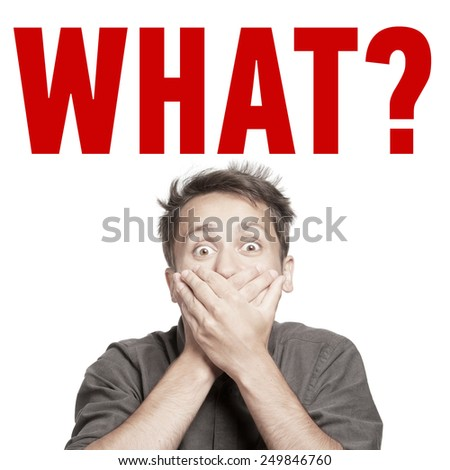 Young man with both hands closing mouth, with question sign above, isolated - stock photo