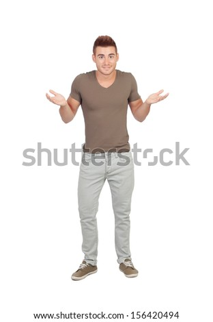 Young man with doubtful expression isolated on a white background - stock photo