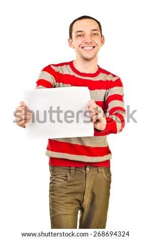 young man with empty sheet of paper - stock photo