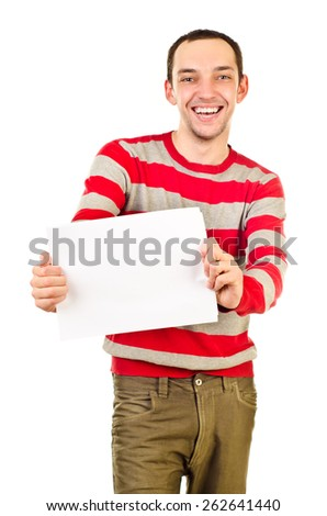young man with empty sheet of paper, focus on hands - stock photo