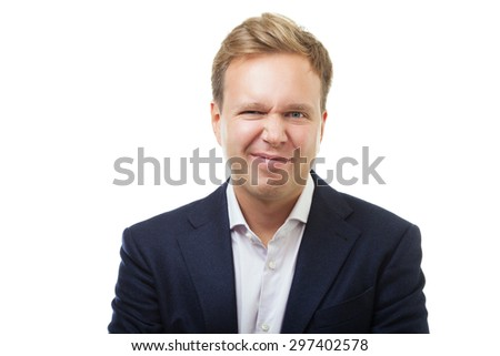 Young man with expression of dissatisfaction, disgust or rejection isolated on white background - stock photo