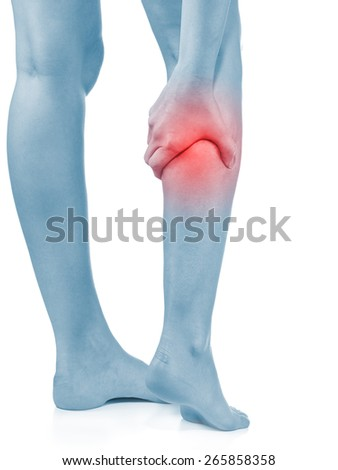 Young man with foot - ankle - heel -  pain.  Medical concept.