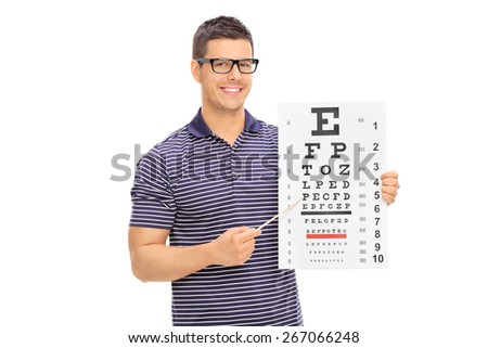 Young man with glasses holding an eyesight test and pointing on it with a wooden stick isolated on white background - stock photo