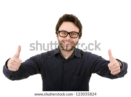 young man with glasses, isolated on white - stock photo