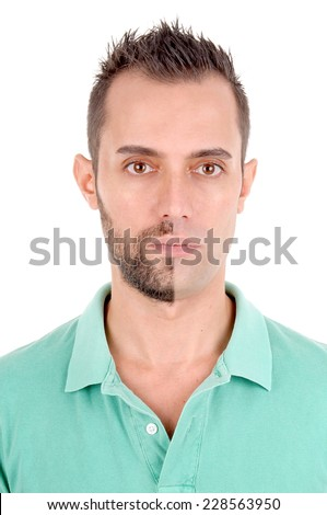 young man with half shaved face isolated in white background - stock photo