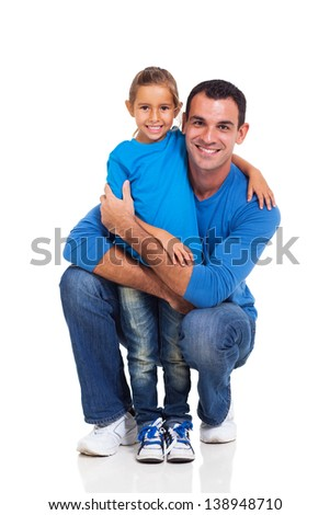 young man with his little daughter on white background - stock photo