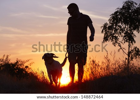 Young man with his yellow labrador retriever in nature - back lit - stock photo