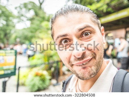 young man with mental disease portrait.  - stock photo