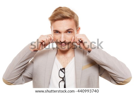 Young man with mustache isolated at white. Handsome guy touch his moustache to show off. Stylish guy with male beauty, seductive person. Nice looking cute hairdresser, metrosexual. - stock photo