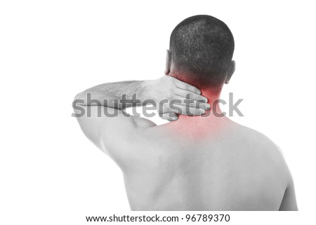 Young man with neck pain, monochrome and red tone, isolated in white
