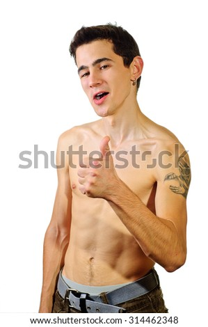 Young man with nude torso showing thumb up