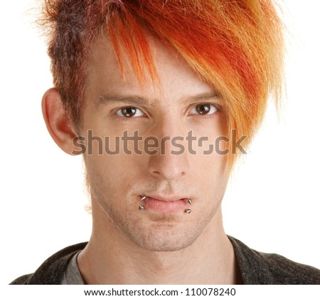 Young man with orange hair over white background - stock photo