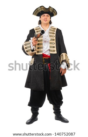 Young man with pistol wearing pirate costume. Isolated on white