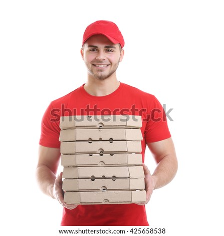 Young man with pizza isolated on white - stock photo