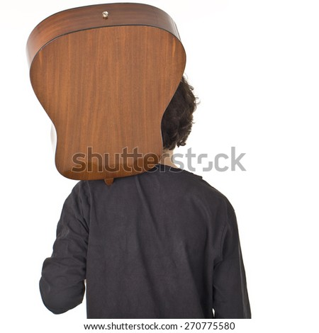 Young man with quitar back portrait. - stock photo