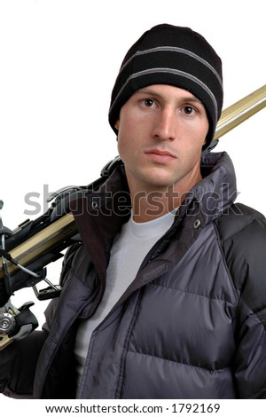 Young man with skis with white background