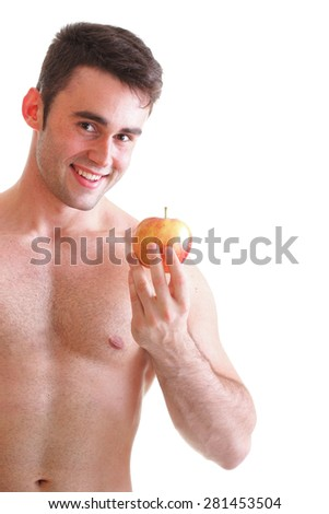 young man with some fresh red apple isolated on white - stock photo