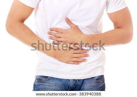 Young man with strong stomachache