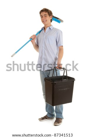 young man with sweep brush and black bucket - stock photo
