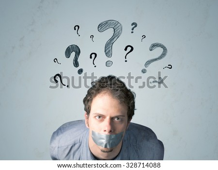 Young man with taped mouth and question mark symbols around his head