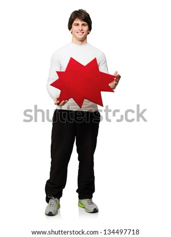 Young Man With Thought Bubble Isolated On White Background - stock photo