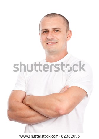 Young man with white t-shirt, isolated on white background - stock photo