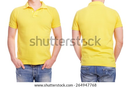 Young man with yellow polo shirt on a white background  - stock photo