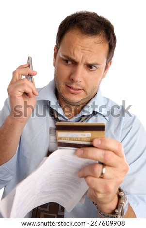 Young man worried about money and credits
