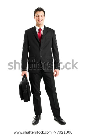 Young manager full length isolated on white holding a briefcase - stock photo