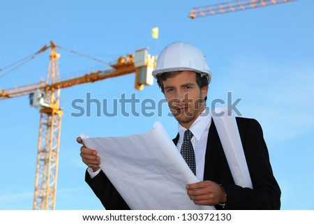 young manager in construction site - stock photo