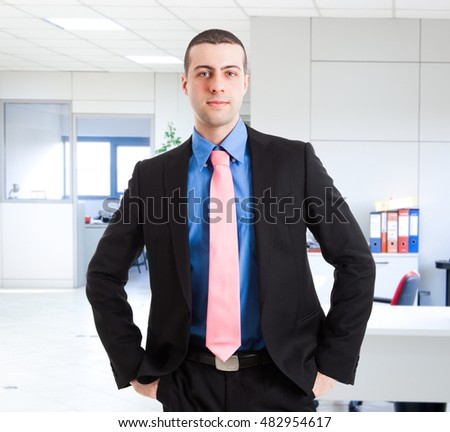 Young manager in his office